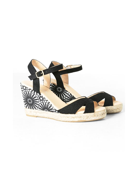 Black and White Printed Wedge Sandals | Melani di moda