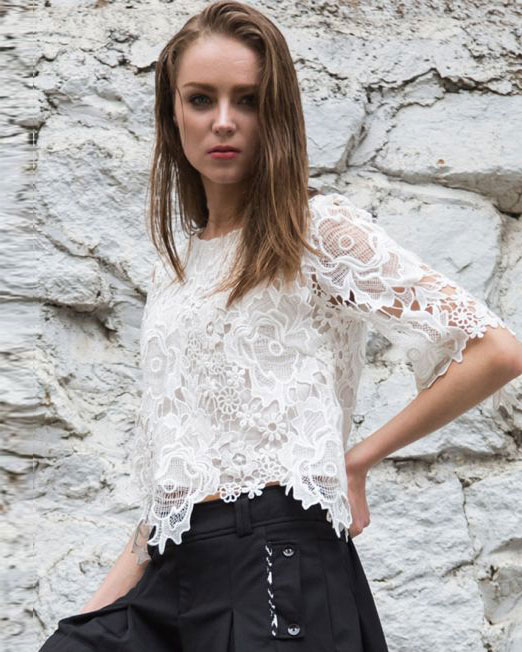 3/4 Sleeve Crew-Neck Lace Crop Top | Melani di moda