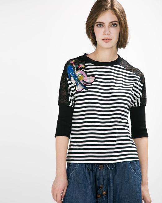 Stripe Beaded Badge Top   Melani di moda
