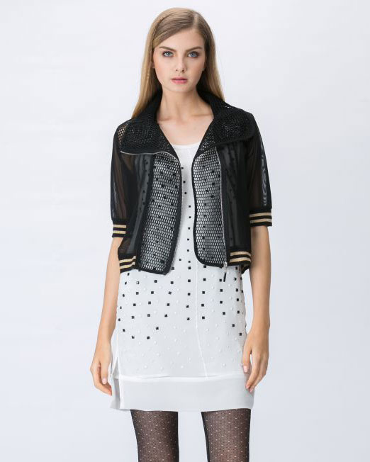 Semi Sheer Mesh Zipper Jacket | Melani di moda
