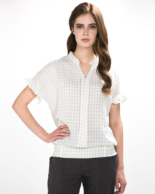Check V-Neck Blouse | Melani di moda