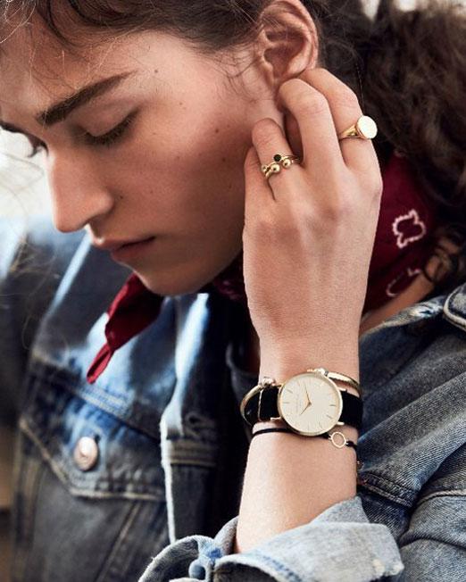 Rosefield The West Village Black Gold Watch | Melani di moda