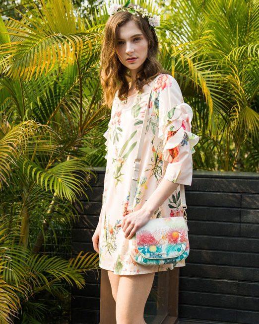 MELANI Ruffle Sleeve Floral Dress | Melani di moda
