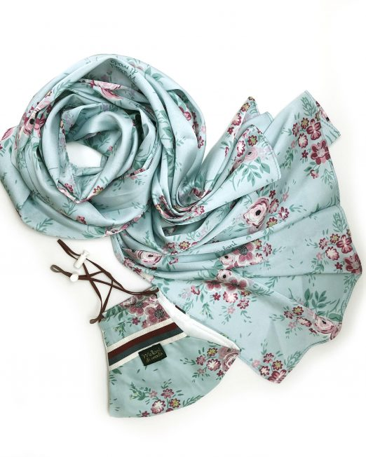 scarf and mask set blue floral 522x652 Womens Clothing & Fashion