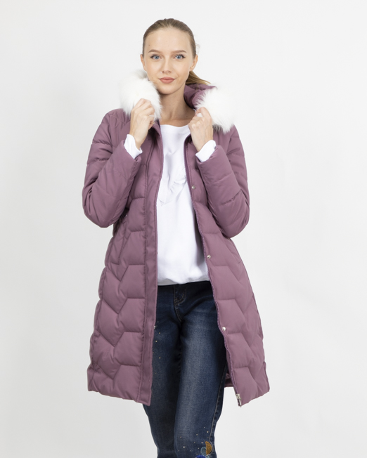 MELANI PADDED COAT WITH FAUX FUR HOOD 1 1 Womens Clothing & Fashion