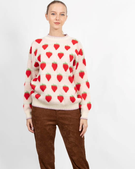 PASSION 1 STRAWBERRY PRINT JUMPER Womens Clothing & Fashion
