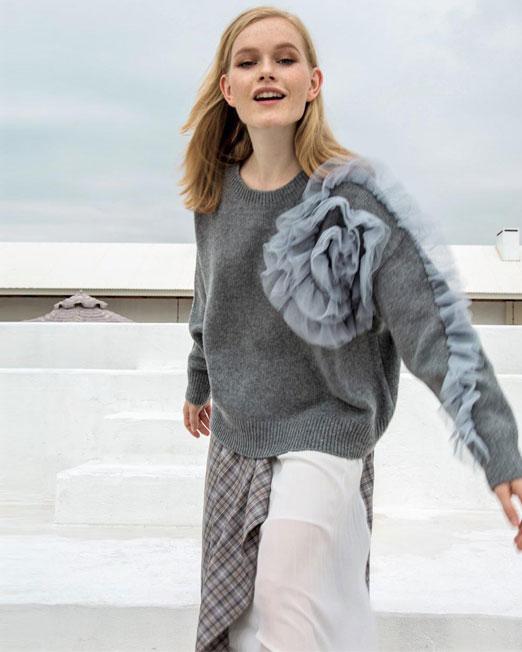 grey knit top Womens Clothing & Fashion