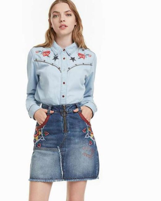 DESIGUAL EMBROIDERED DENIM BLOUSE3 522x652 Womens Clothing & Fashion