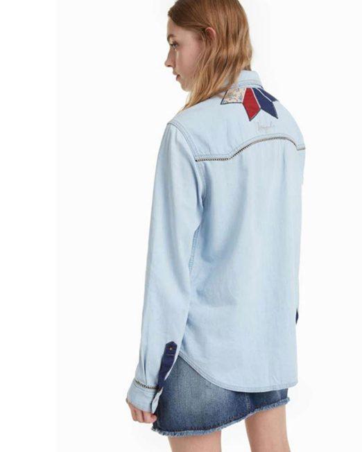 DESIGUAL EMBROIDERED DENIM BLOUSE5 522x652 Womens Clothing & Fashion
