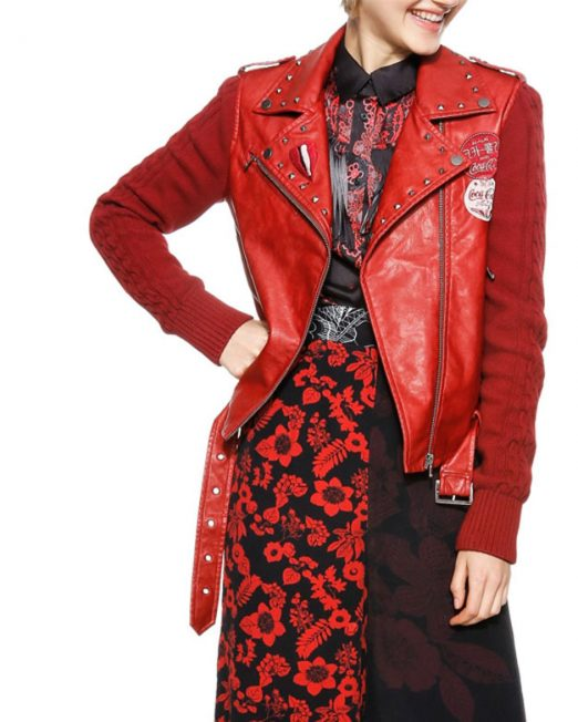 DESIGUAL RED BIKER JACKET 522x652 Womens Clothing & Fashion