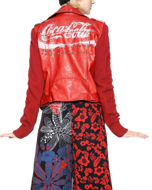 DESIGUAL RED BIKER JACKET2 Womens Clothing & Fashion