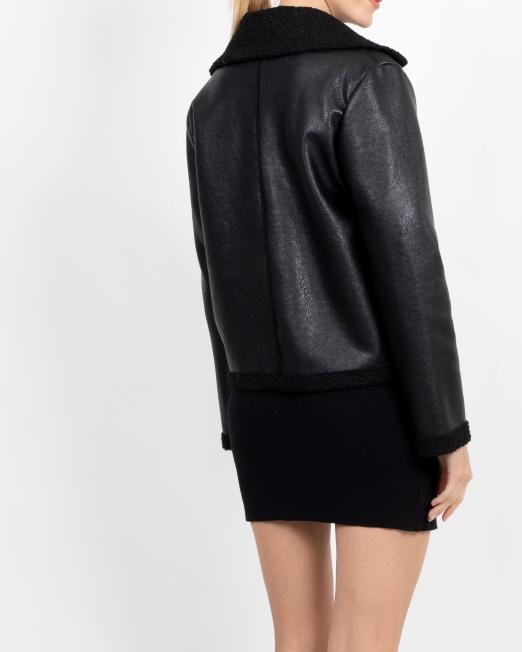 MELANI FAUX LEATHER JACKET WITH BORG LINING 3 Womens Clothing & Fashion