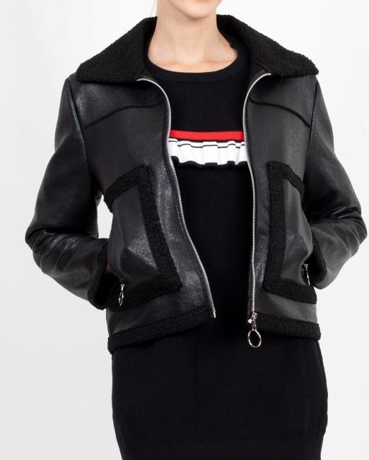 MELANI FAUX LEATHER JACKET WITH BORG LINING Womens Clothing & Fashion