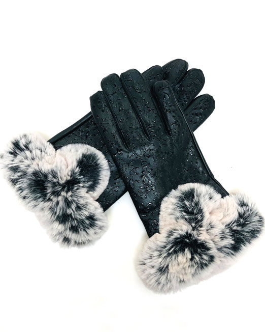 MELANI FLORAL PATTERN FAUX LEATHER GLOVES 1 Womens Clothing & Fashion