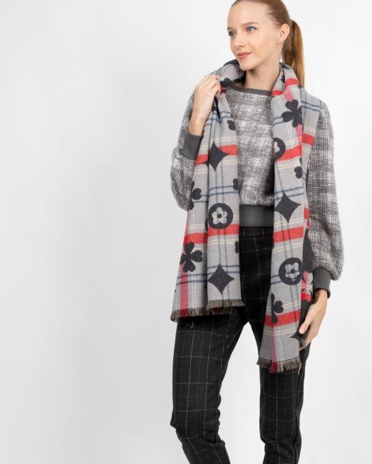MELANI POKER PATTERN CHECK SCARF Womens Clothing & Fashion