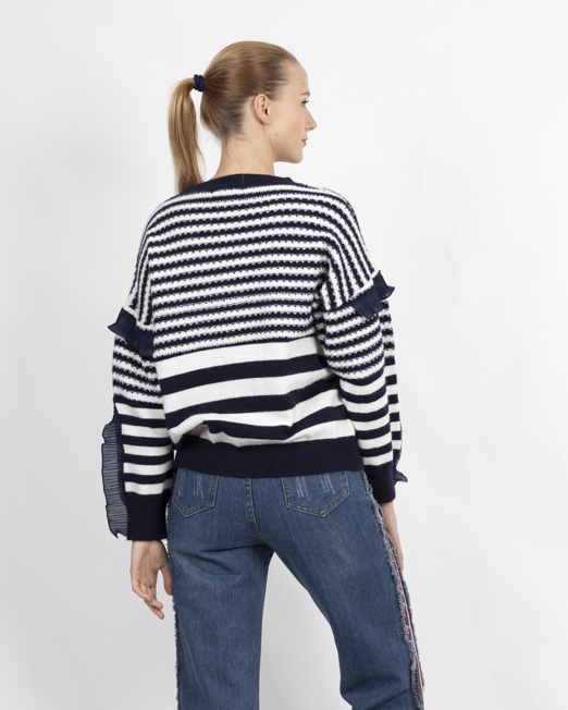 PASSION 1 CREW NECK JUMPER IN STRIPE 2 Womens Clothing & Fashion