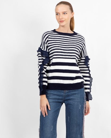 PASSION 1 CREW NECK JUMPER IN STRIPE 3 Womens Clothing & Fashion