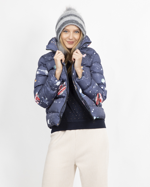 PASSION 1 SPACE PRINT PADDED JACKET 3 Womens Clothing & Fashion
