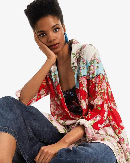 DESIGUAL ASYMMETRIC HEM SHIRT6 Womens Clothing & Fashion