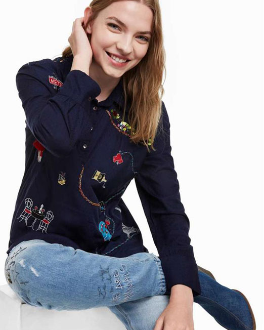 DESIGUAL COLOURFUL EMBORIDERED SHIRT4 Womens Clothing & Fashion