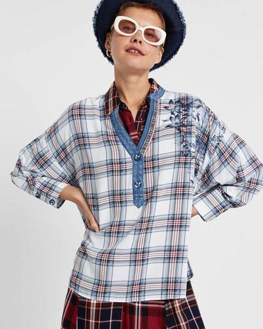 DESIGUAL DENIM COLLAR BLOUSE Womens Clothing & Fashion