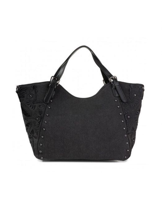 DESIGUAL EMBROIDERED BLACK DENIM HANDBAG2 522x652 Womens Clothing & Fashion