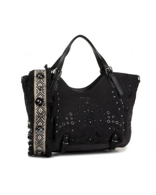 DESIGUAL EMBROIDERED BLACK DENIM HANDBAG5 522x652 Womens Clothing & Fashion