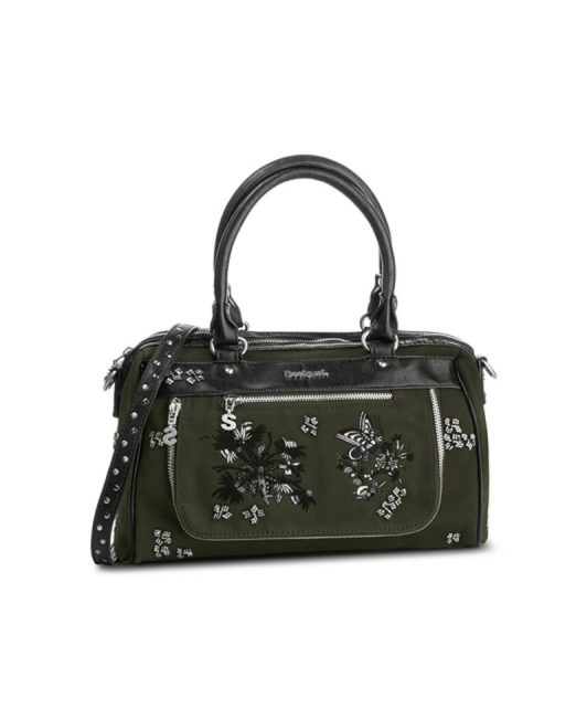 DESIGUAL EMBROIDERED HANDBAG WITH SLIVER METAL DECORATION2 522x652 Womens Clothing & Fashion