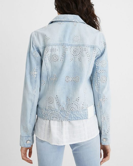 DESIGUAL PERFORATED EMBROIDERED DENIM JACKET6 522x652 Womens Clothing & Fashion