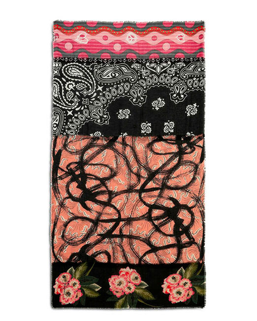 DESIGUAL RETRO PATCH PRINT SCARF2 Womens Clothing & Fashion