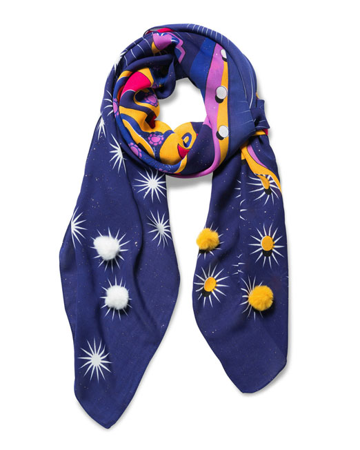 DESIGUAL WE MOVE PRINT SQUARE SCARF Womens Clothing & Fashion