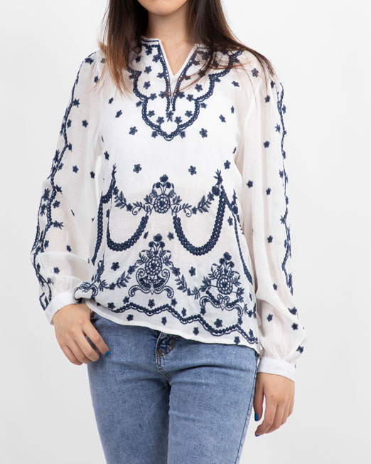 PASSION 1 BY MELANI EMBROIDERED LONG SLEEVES BLOUSE2 Womens Clothing & Fashion