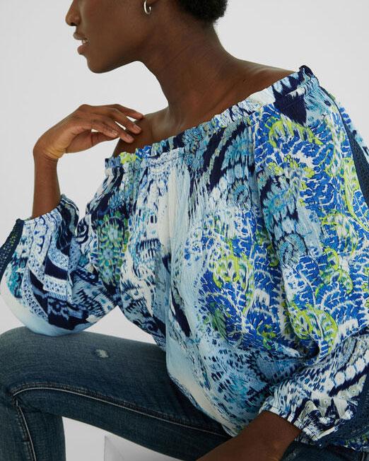 DESIGUAL BOAT NECK BLOUSE6 Womens Clothing & Fashion