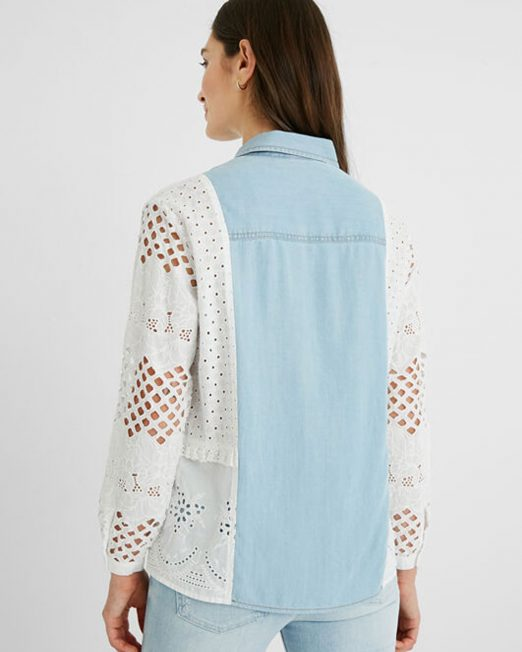 DESIGUAL LINEN BLOUSE CROCHET BACK4 522x652 Womens Clothing & Fashion