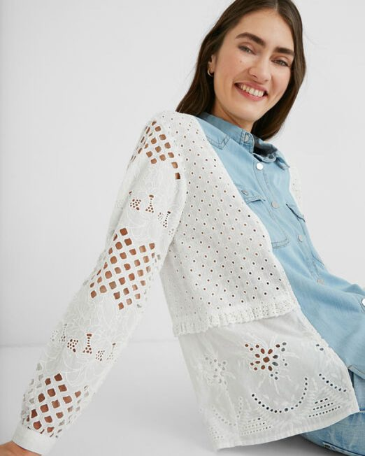 DESIGUAL LINEN BLOUSE CROCHET BACK5 522x652 Womens Clothing & Fashion