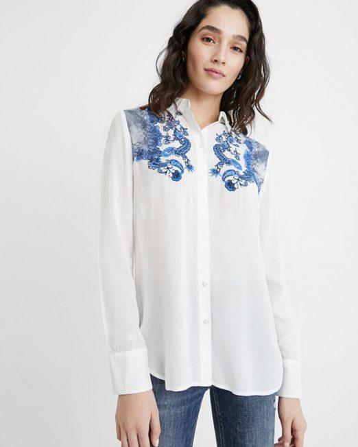 DESIGUAL PAISLEY EMBORIDERED SHIRT 522x652 Womens Clothing & Fashion