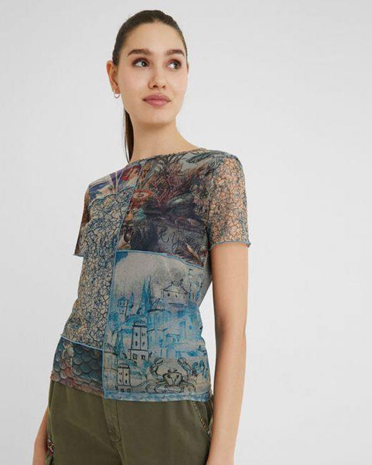 DESIGUAL PATCHWORK PRINT TEE8 522x652 Womens Clothing & Fashion