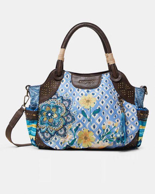DESIGUAL STUDS FLORAL FABRIC PATCHWORK SHOULDER BAG 522x652 Womens Clothing & Fashion
