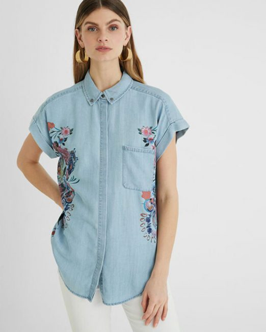 DESIGUAL TENCEL DENIM SHIRT 522x652 Womens Clothing & Fashion
