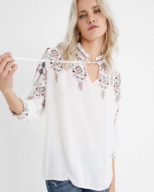 DESIGUAL V NECK GATHERED BLOUSE 522x652 Womens Clothing & Fashion