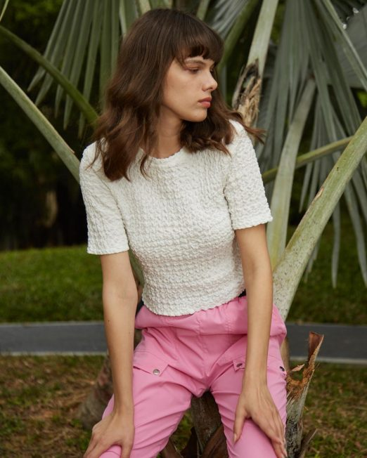 MELANI CROPPED TOP IN TEXTURED FABRIC 522x652 Womens Clothing & Fashion