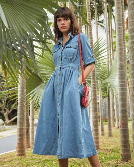 PASSION 1 BY MELANI SHORT SLEEVES DENIM DRESS3 522x652 Womens Clothing & Fashion