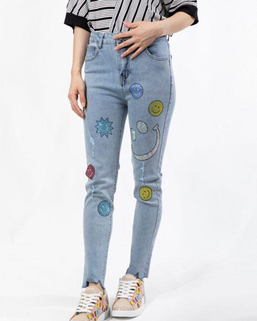 MLN Smiley face rhinestone embellishment jeans 522x652 Womens Clothing & Fashion