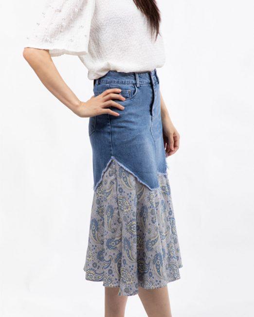PASSION 1 BY MELANI FLORAL PRINT PATCH DENIM SKIRT 3 522x652 Womens Clothing & Fashion