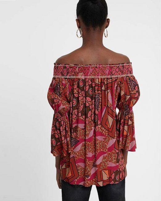 DESIGUAL ETHNIC PRINT OFF SHOULDER BLOUSE 1 522x652 Womens Clothing & Fashion