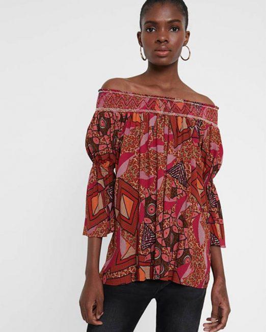 DESIGUAL ETHNIC PRINT OFF SHOULDER BLOUSE 2 522x652 Womens Clothing & Fashion