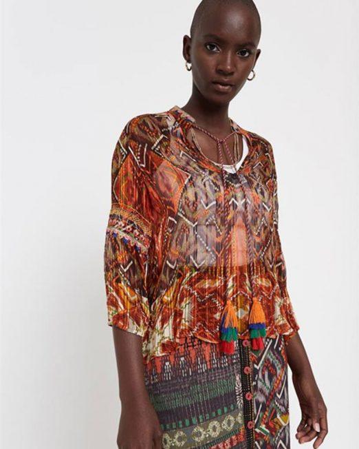 DESIGUAL GEOMETRIC FRIEZE PRINT BLOUSE 6 522x652 Womens Clothing & Fashion