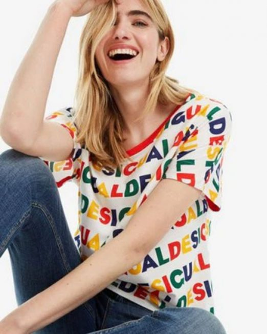 DESIGUAL LOGO PRINT TOP 1 522x652 Womens Clothing & Fashion