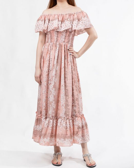 MELANI FLORAL PRINT OFF SHOULDER DRESS 522x652 Womens Clothing & Fashion